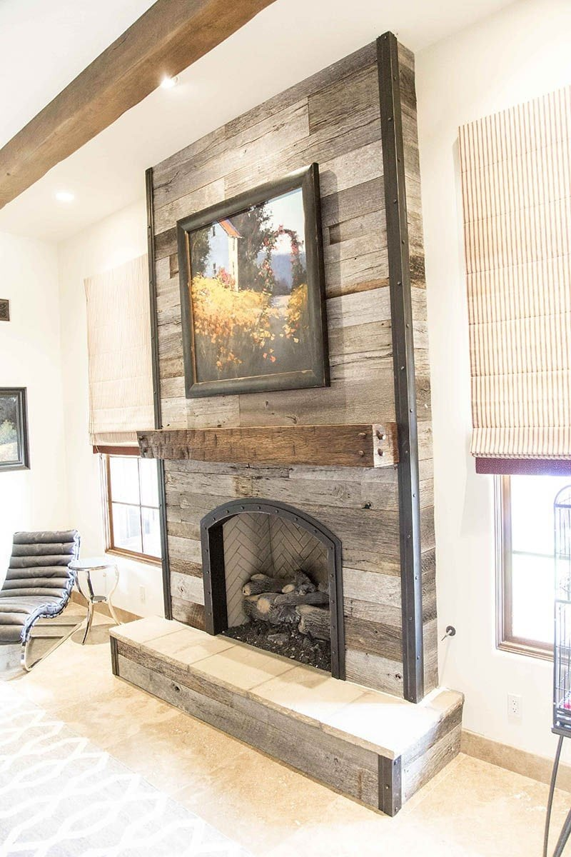 commercial kitchen wall covering throw rugs washable porter barn wood - tobacco grey fireplace