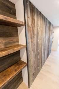 Reclaimed Wood Wall Entertainment Center & Shelves ...