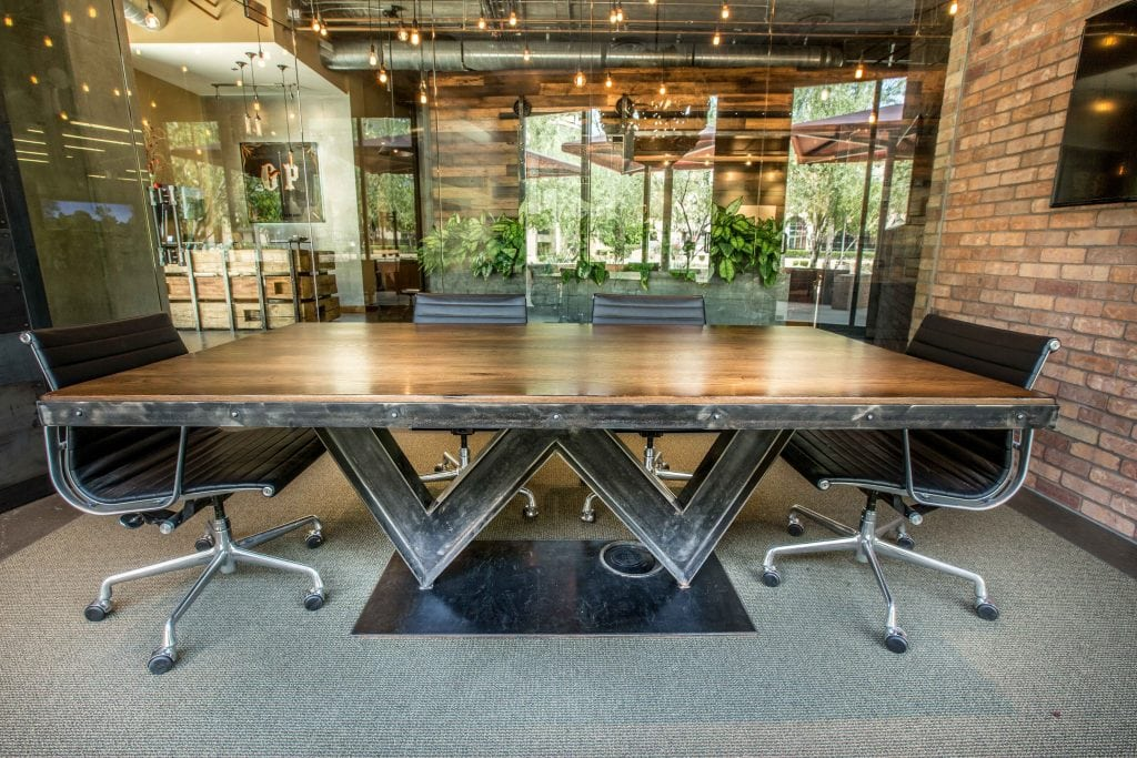 Reclaimed White Oak W IBeam Conference Table  Porter