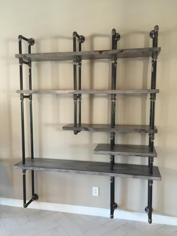 commercial kitchen hoods small counter lamps greywash alder shelves with gas pipe wall-mount support ...