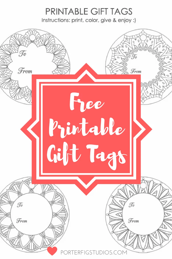 Free Printable Christmas Holiday Gift Tags Coloring Page