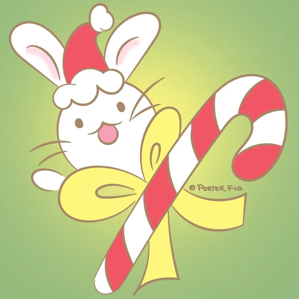 Candy Cane holiday kawaii illustration by Porter Fig Studios