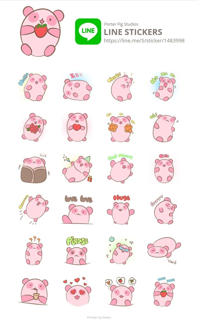 LINE stickers strawberry pands
