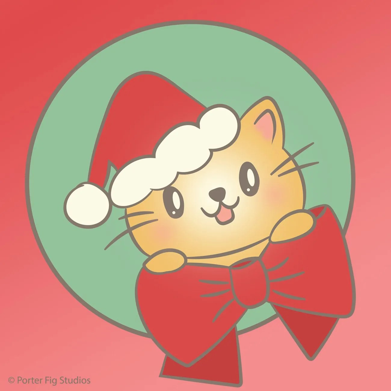 Cat wearing a santa hat