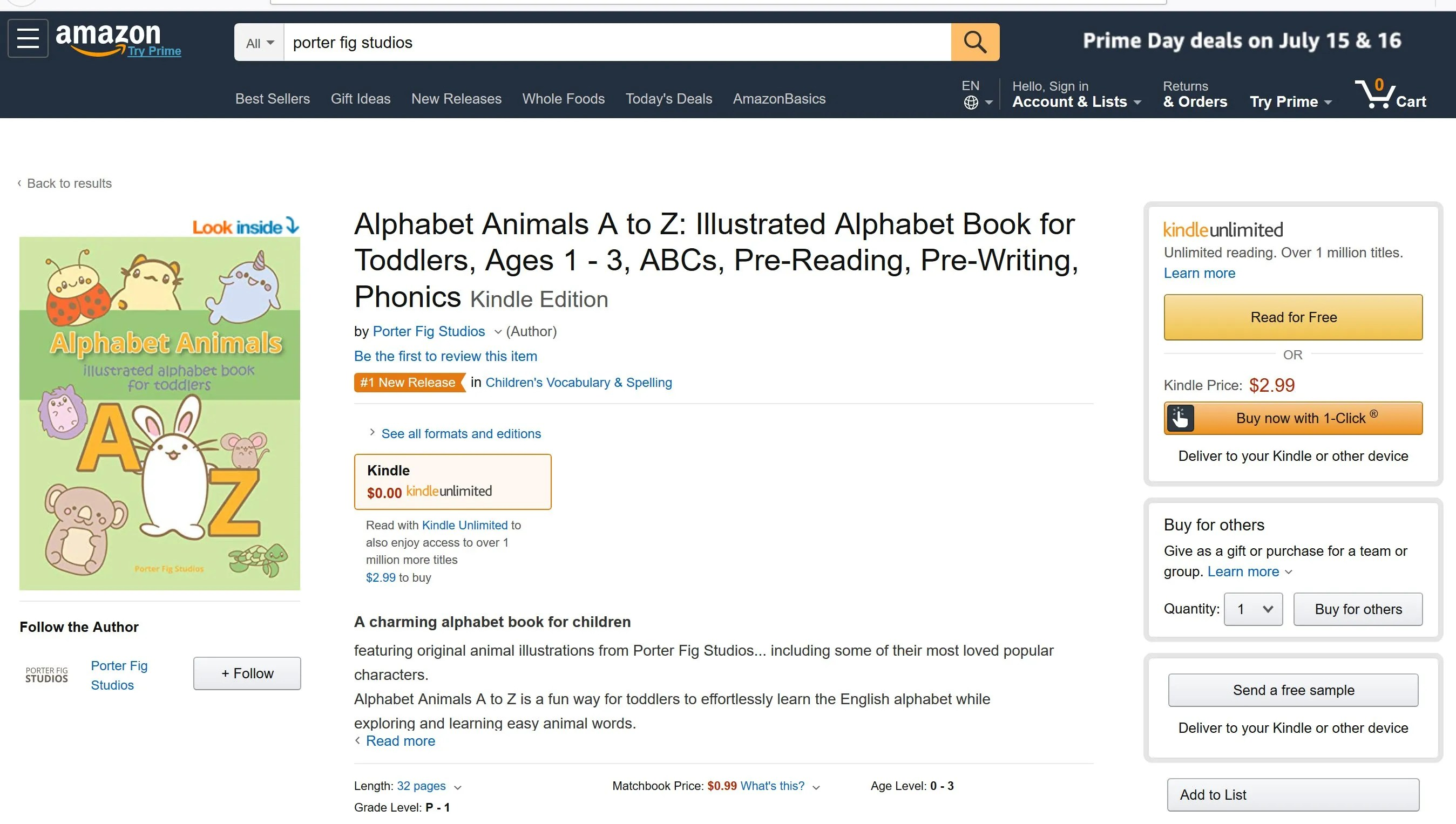 Alphabet book #1 on Amazon