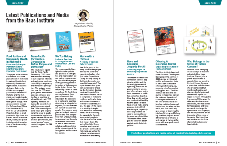 Two page spread of past publications with summaries.