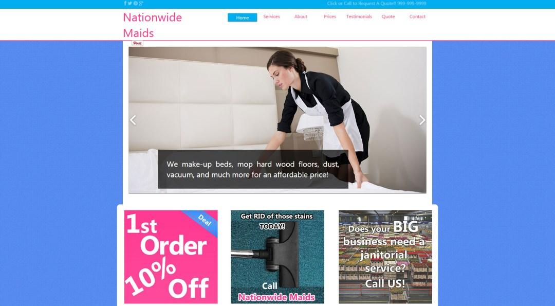 Screenshot of Nationwide Maids custom wordpress theme design