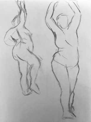 Gesture Drawings 4-5 (1m (each), 9/25)