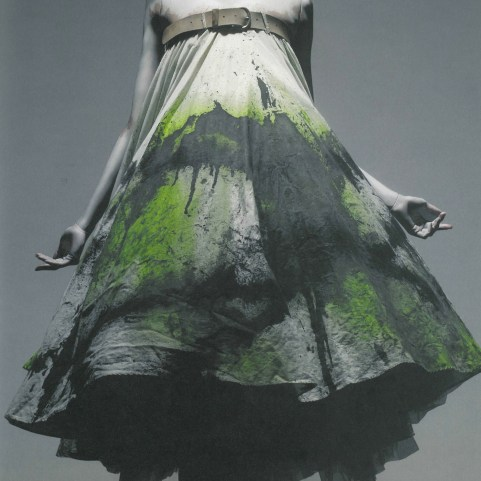Dress, No.13, spring/summer 1999. White cotton spray-painted black and yellow with underskirt of white silk.