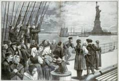 """Welcome to the land of freedom: New York. This sketch by a staff artist of the WPA depicts immigrants on the deck of the steamer """"Germanic"""""""