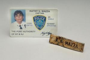 ID card and nametag worn by Captain Massa as she led rescue efforts on September 11, 2001