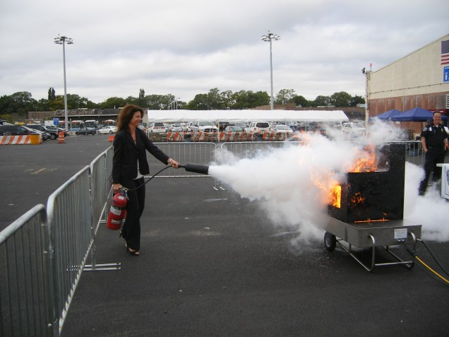 Lysa putting out the grill after a BBQ at LGA