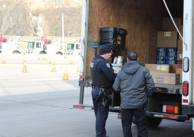 PAPD CVI Brett Nigro inspecting a commercial vehicle