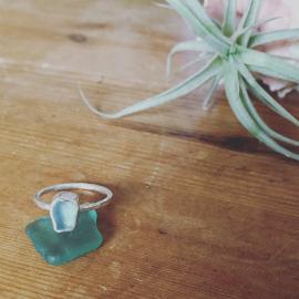 Small aqua seaglass ring - bespoke order.