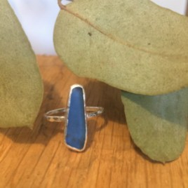 Long thin blue seaglass ring.