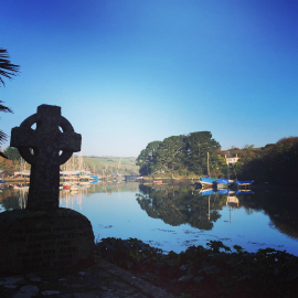 View from St Just church of the tidal pool, Cornwall.