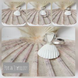 White Heart Seaglass Ring, collage of views.