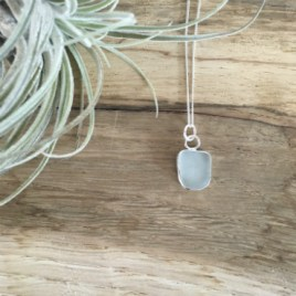 Marazion Seaglass Necklace - a rounded square shape.