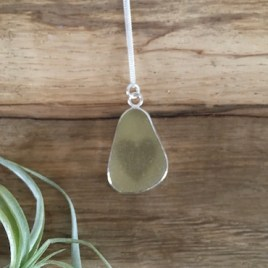 Yellow seaglass & heart necklace - Swanpool