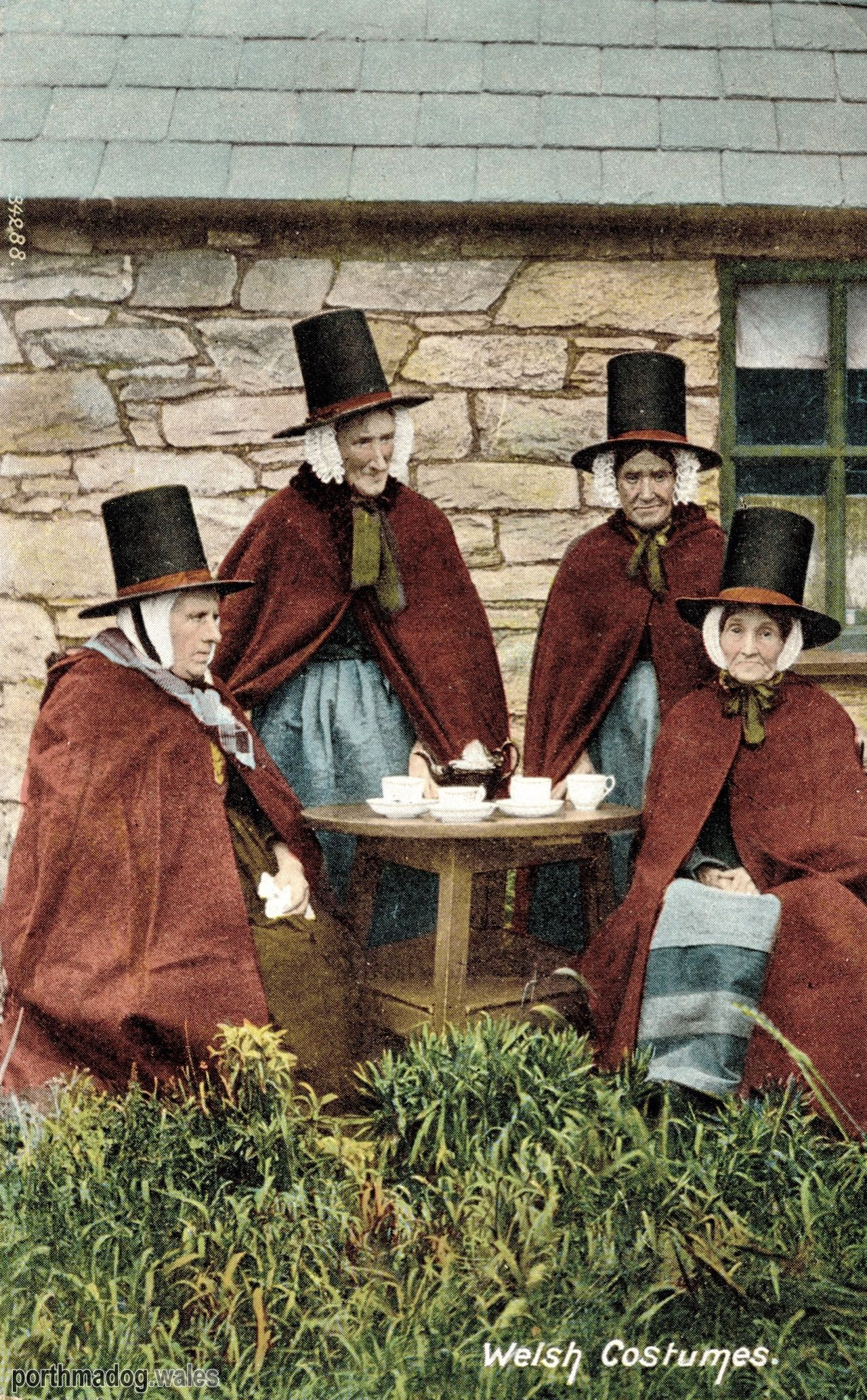 Postcard of Welsh Ladies in Their Traditional Welsh Costumes