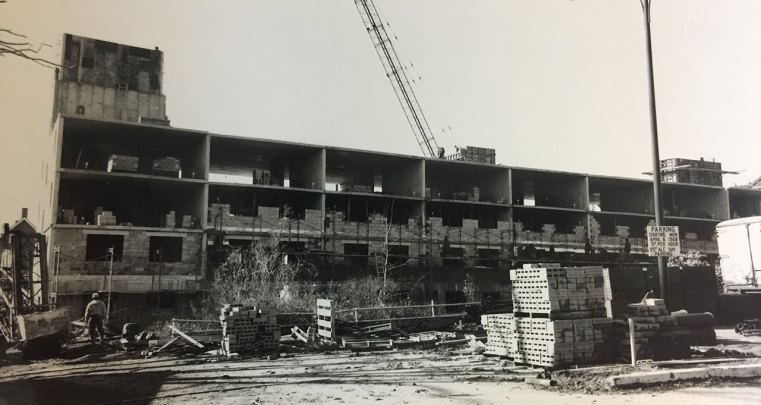 Construction of the Feaster Apartment building on Court Street, 1970.
