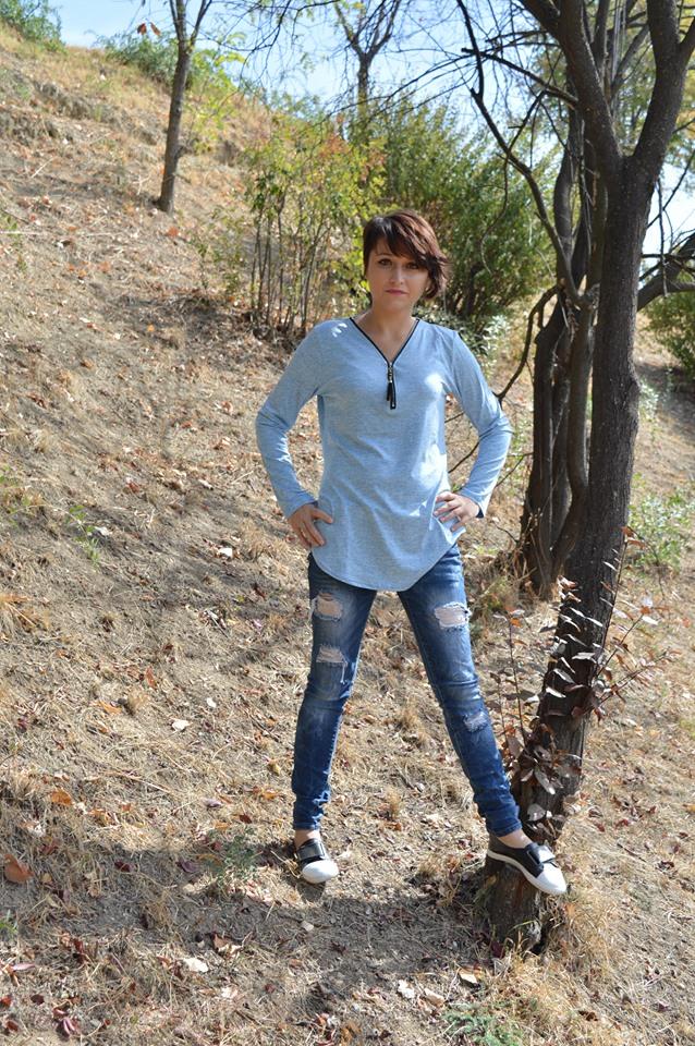 bluză bleu Dresslily