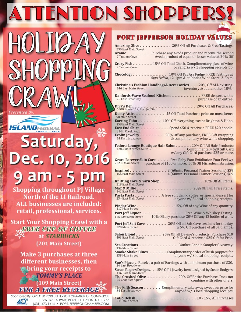 Port Jeff Village Holiday Shopping Crawl