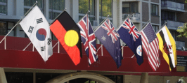 Another hotel flies the Aboriginal flag prominently among other nations.