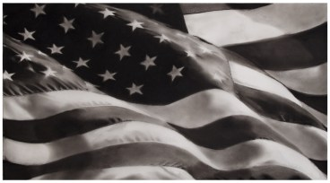 Robert Longo: Study of American Flag X-2, 2012. Ink and charcoal on vellum.