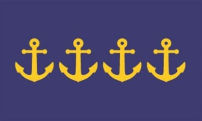 """""""Resurgam Flag 2"""" by Jeremy Hammond Designer's comments: Blue and gold represent the sea and prosperity and provide continuity with the current Portland flag. In true heraldic form, the image of several overlapping anchors depicts a busy port. The number of anchors was chosen to honor the four fires the city has survived and in visual form to exclaim the city's motto, Resurgam. Contest judge Ted Kaye's comments: This stand-out design combines two symbolic themes—the nautical history of Portland and its four fires—in a striking, effective, and recognizable image. I would be proud to live under this flag."""