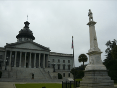 The South Carolina State House and Confederate Monument, 2009: Flagpole and fencing in place.