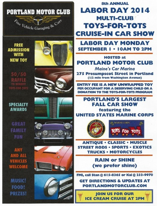 7th Annual Toys-for-Tots Labor Car Show Monday, September 1, 2014 From 10 AM-2 PM