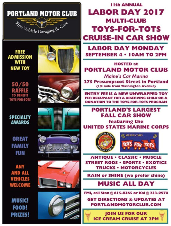 11th Annual Toys-for-Tots Labor Day Car Show Monday, September 4, 2017