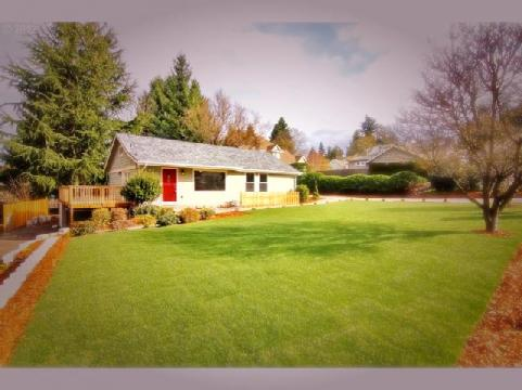 The 2200 square feet sits in the middle of half an acre.