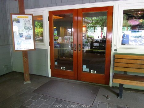 Doors into the entry area. If close on there is information and a map displayed beside the doors.