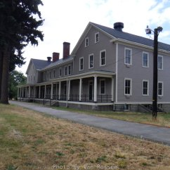The last barrack on the row of existing barracks. The row once had several more buildings.