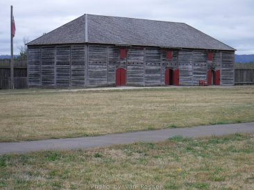 A reconstruction of one of the fur warehouses.