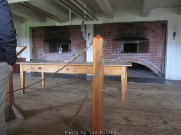 A look at the reconstructed functioning double beard ovens. The original would have been baking bread every day.