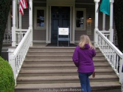 Becky heading into the Marshall House. The first floor is open to visitors.
