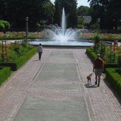 A view down the walkway to the center fountain.