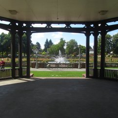 Viewing from the bandstand to the rose garden.