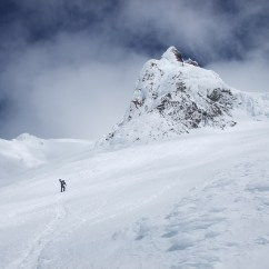A lone skier makes his way up to Crater Rock on Mt. Hood.