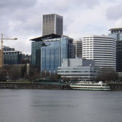 Portland Spirit dock along Harbor Wall with Portland skyline behind.
