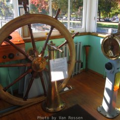 In the Pilot house with the helm and engine order telegraph.