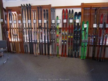 The collection shows how skis have changed since skiing began on Mt. Hood.