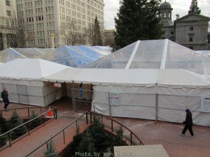 Large tents fill Pioneer Court House Square