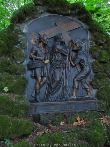 One of the station of the cross bronze relief.