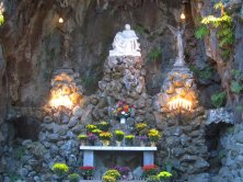 Close up of inside of Grotto and statues.