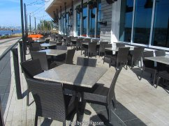 New outdoor seating at one the new restaurants that have opened.