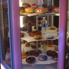 Two revolving display cases show most of what is available. I like their chocolate cake doughnut with chocolate icing that is not displayed and you have to ask for it.